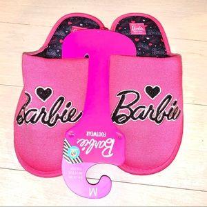 Pink Black Barbie fabric slip on padded slippers